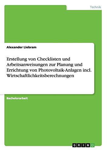 Erstellung Von Checklisten Und Arbeitsanweisungen Zur Planung Und Errichtung Von ...
