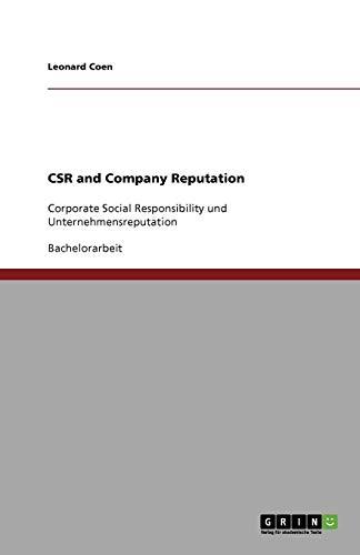 9783640663910: CSR and Company Reputation