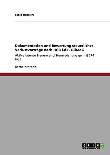 Dokumentation Und Bewertung Steuerlicher Verlustvortrage Nach Hgb I.D.F. Bilmog: Fabio Buccieri