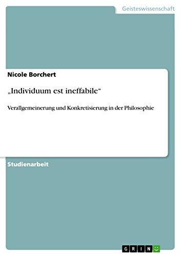 """9783640970667: """"Individuum est ineffabile"""""""