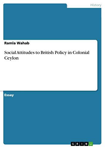 9783640990542: Social Attitudes to British Policy in Colonial Ceylon