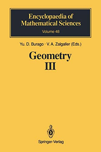 9783642081026: Geometry III: Theory of Surfaces (Encyclopaedia of Mathematical Sciences)