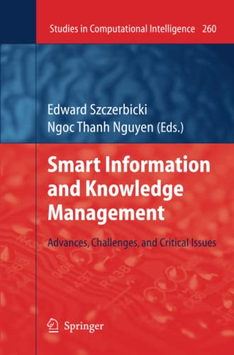 9783642261886: Smart Information and Knowledge Management: Advances, Challenges, and Critical Issues (Studies in Computational Intelligence) (Volume 260)