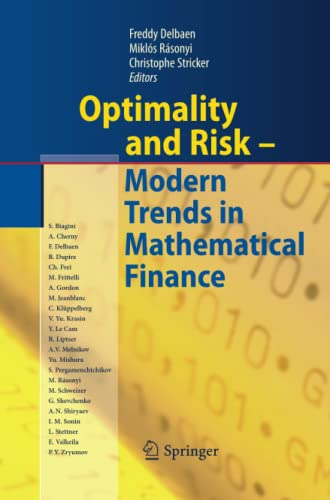 9783642425233: Optimality and Risk - Modern Trends in Mathematical Finance: The Kabanov Festschrift