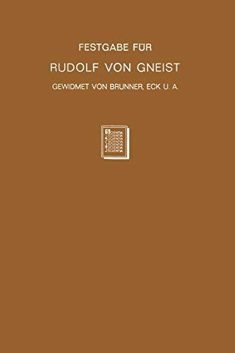 9783642503443: Festgabe Fur Rudolf Von Gneist Zum Doktorjubilaum Am XX. November MDCCCLXXXVIII
