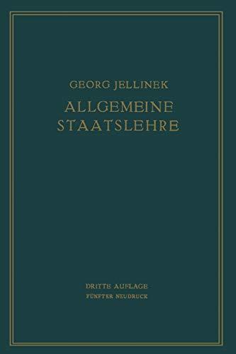 9783642506260: Allgemeine Staatslehre: MANULDRUCK (German Edition)