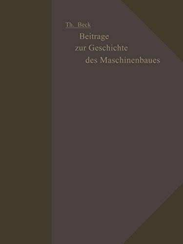 9783642512490: Beiträge zur Geschichte des Maschinenbaues (German Edition)