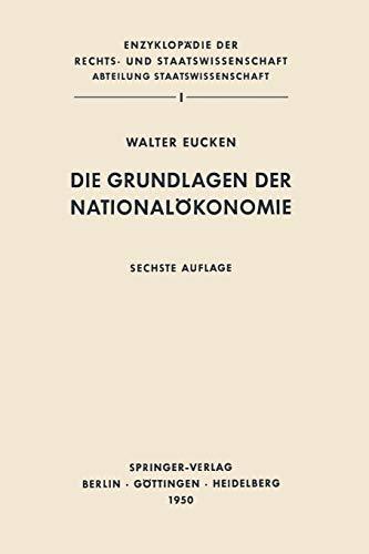 9783642649431: Die Grundlagen der Nationalökonomie (German Edition)