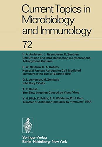 Current Topics in Microbiology and Immunology Ergebnisse Der Mikrobiologie Und Immunitatsforschung:...