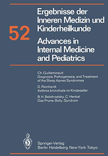 Ergebnisse Der Inneren Medizin Und Kinderheilkunde Advances in Internal Medicine and Pediatrics: A....
