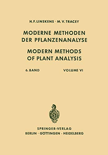 9783642948794: Modern Methods of Plant Analysis / Moderne Methoden der Pflanzenanalyse (Volume 6) (German and English Edition)