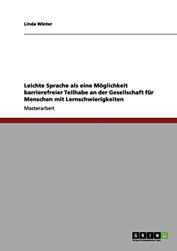 9783656034940: Barrierefreiheit: Leichte Sprache hilft Menschen mit Lernschwierigkeiten (German Edition)