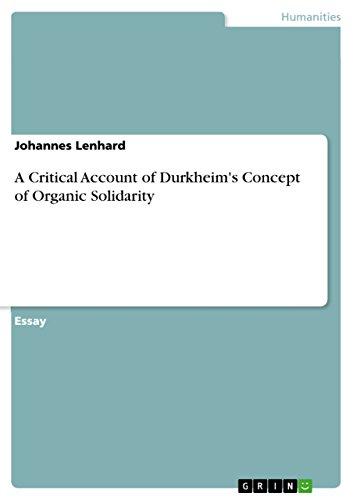 A Critical Account of Durkheims Concept of Organic Solidarity: Johannes Lenhard