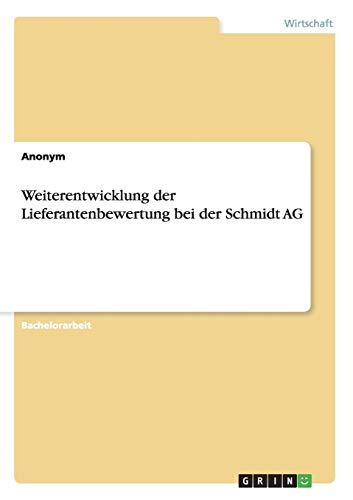 9783656102076: Weiterentwicklung der Lieferantenbewertung bei der Schmidt AG (German Edition)