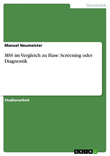 9783656199755: MSS im Vergleich zu Hase: Screening oder Diagnostik