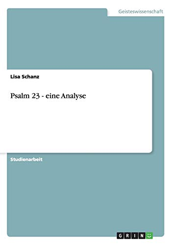 9783656214144: Psalm 23 - eine Analyse (German Edition)