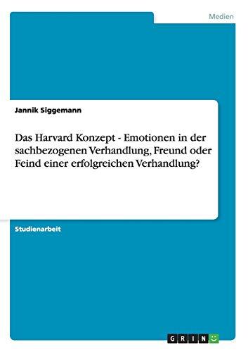 Das Harvard Konzept - Emotionen in Der Sachbezogenen Verhandlung, Freund Oder Feind Einer ...