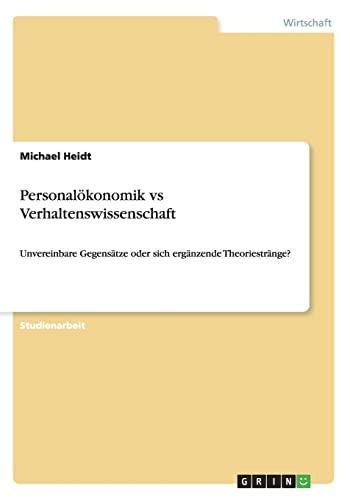 9783656277255: Personalökonomik vs Verhaltenswissenschaft