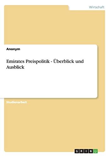 9783656300830: Emirates Preispolitik - Uberblick Und Ausblick