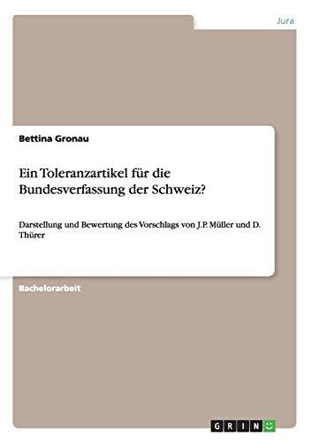 9783656396901: Ein Toleranzartikel für die Bundesverfassung der Schweiz? (German Edition)