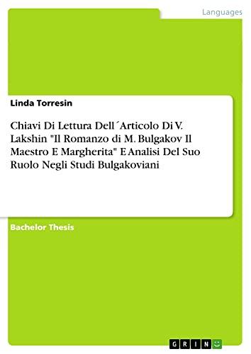 Chiavi Di Lettura Dell´Articolo Di V. Lakshin: Torresin, Linda