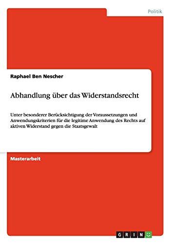 Abhandlung über das Widerstandsrecht: Raphael Ben Nescher