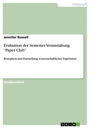 9783656474029: Evaluation der Semester-Veranstaltung