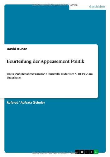 9783656474180: Beurteilung der Appeasement Politik (German Edition)
