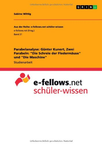 9783656542667: Parabelanalyse: Gunter Kunert, Zwei Parabeln: