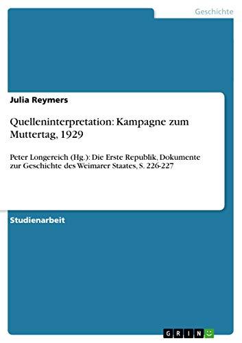 9783656605799: Quelleninterpretation: Kampagne Zum Muttertag, 1929 (German Edition)
