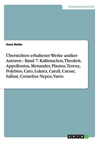Übersichten erhaltener Werke antiker Autoren - Band: Belde, Hans