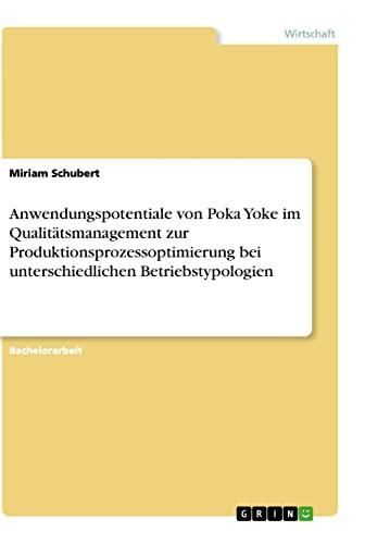 Anwendungspotentiale Von Poka Yoke Im Qualitatsmanagement Zur: Miriam Schubert