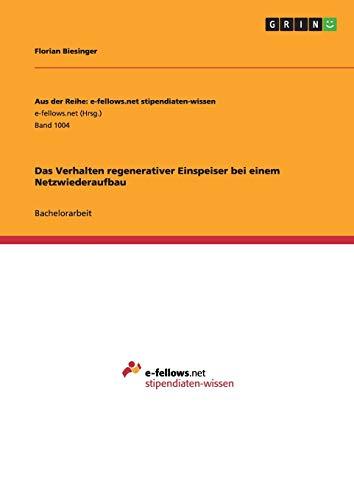 Das Verhalten regenerativer Einspeiser bei einem Netzwiederaufbau: Florian Biesinger