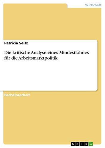 Die kritische Analyse eines Mindestlohnes für die Arbeitsmarktpolitik: Patricia Seitz