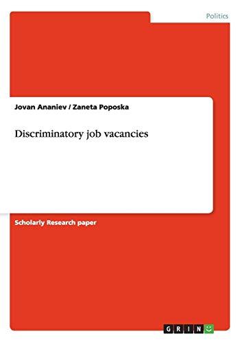 Discriminatory job vacancies: Jovan Ananiev