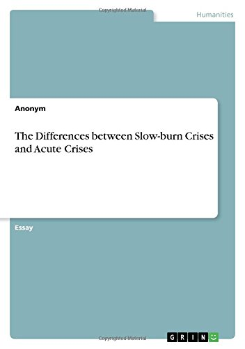9783656907589: The Differences between Slow-burn Crises and Acute Crises
