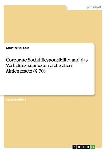 9783656931386: Corporate Social Responsibility und das Verhältnis zum österreichischen Aktiengesetz (§ 70)