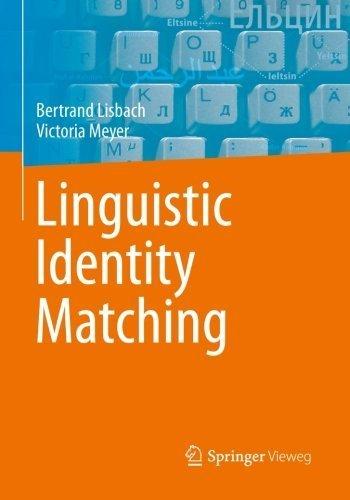 9783658022280: Linguistic Identity Matching
