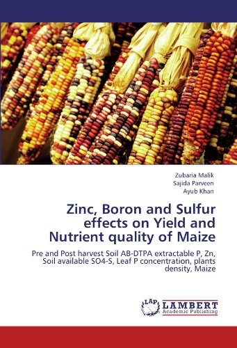 Zinc, Boron and Sulfur effects on Yield and Nutrient quality of Maize: Zubaria Malik