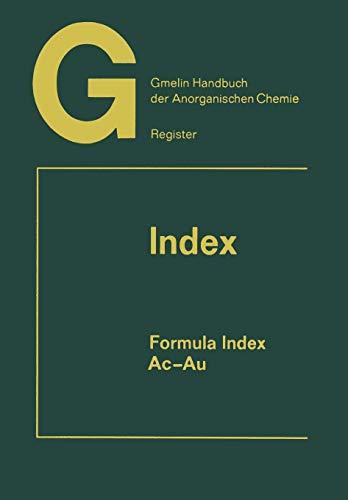 9783662022733: Ac-Au (Gmelin Handbook of Inorganic and Organometallic Chemistry - 8th edition)
