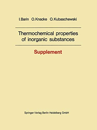 9783662022955: Thermochemical properties of inorganic substances: Supplement
