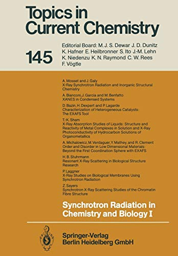 9783662151099: Synchrotron Radiation in Chemistry and Biology I (Topics in Current Chemistry)