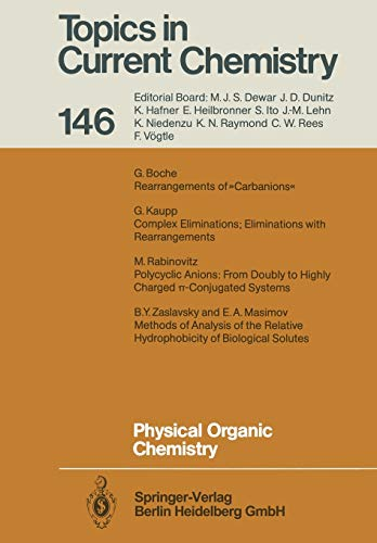 9783662151389: Physical Organic Chemistry (Topics in Current Chemistry) (Volume 146)