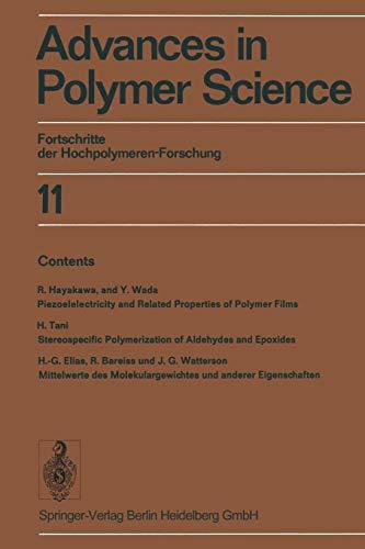9783662155646: Advances in Polymer Science: Fortschritte der Hochpolymeren-Forschung (Volume 11) (English and German Edition)