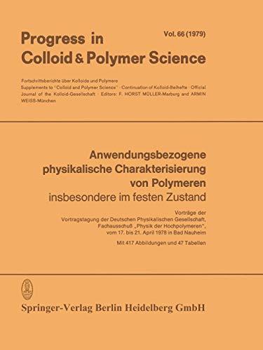 9783662157121: Anwendungsbezogene physikalische Charakterisierung von Polymeren: Insbesondere im festen Zustand (Progress in Colloid and Polymer Science)