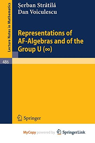 9783662206683: Representations of AF-Algebras and of the Group U. (infinite)