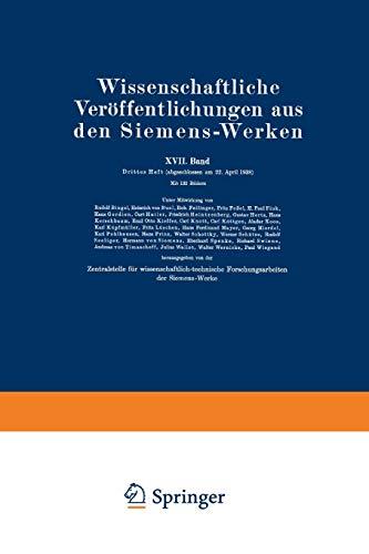 9783662227466: Wissenschaftliche Veröffentlichungen aus den Siemens-Werken: XVII. Band. Drittes Heft (German Edition)