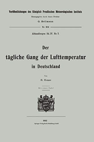 Der Tagliche Gang Der Lufttemperatur in Deutschland: Hermann Henze