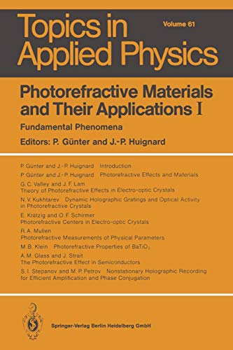 9783662309278: Photorefractive Materials and Their Applications I: Fundamental Phenomena (Topics in Applied Physics)