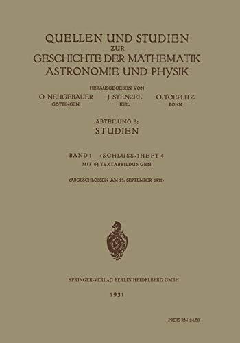 Quellen und Studien zur Geschichte der Mathematik: Neugebauer, O.